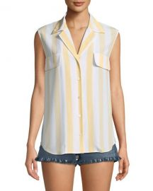 FRAME True Striped Sleeveless Silk Shirt   Neiman Marcus at Neiman Marcus