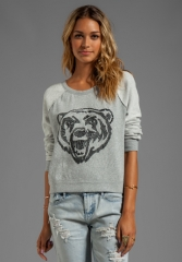 FREE PEOPLE Jesss French Terry Big Bad Varsity Sweatshirt in Grey at Revolve