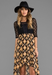 FREE PEOPLE Lonesome Dove Dress in Black Combo at Revolve