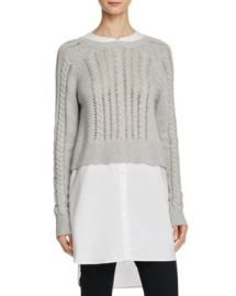 FRENCH CONNECTION Crochet Cable Knits Layered-Look Sweater at Bloomingdales