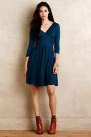 Fara Surplice Dress in Teal at Anthropologie