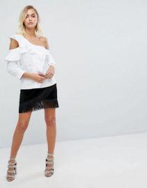 Fashion Union Mini Skirt With Fringe Hem Detail at asos com at Asos