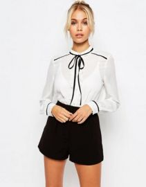Fashion Union Sheer Blouse With Contrast Tie Up at asos com at Asos