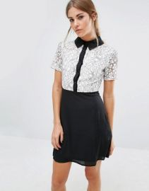 Fashion Union Shift Dress With Lace Top And Contrast Collar at asos com at Asos