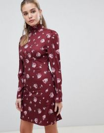 Fashion Union skater dress with high neck in vintge floral at asos com at Asos