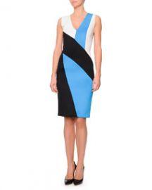 Fausto Puglisi V-Neck Colorblock Punto Roma Dress BlackBlue at Neiman Marcus