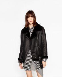 Faux Fur Collar Biker Jacket at Zara
