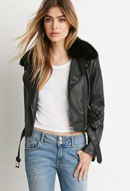 Faux Fur Moto Jacket  Forever 21 - 2000173745 at Forever 21
