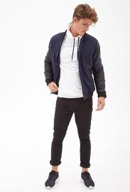 Faux Leather Bomber Jacket at 21 Men