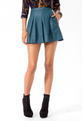 Faux Leather Box Pleated Skirt at Forever 21