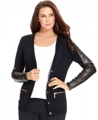 Faux Leather Cardigan by Michael Kors Plus at Macys