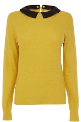 Faux Leather Collar Jumper  at Oasis