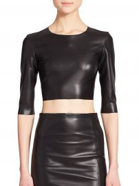 Faux Leather Cropped Top by The Kooples at Saks Fifth Avenue