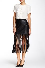 Faux Leather Fringe Skirt by Vakko at Nordstrom Rack