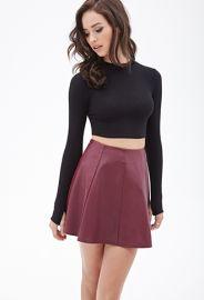 Faux Leather Skater Skirt  Forever 21 - 2000119406 in burgundy at Forever 21