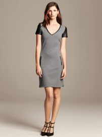 Faux Leather Trim Shift Dress at Banana Republic