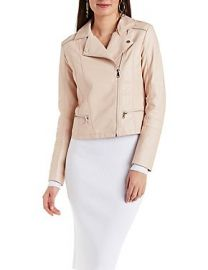 Faux Leather Zipper Trim Moto Jacket at Charlotte Russe
