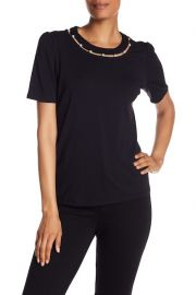 Faux Pearl Cutout Neckline Tee at Nordstrom Rack