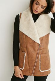 Faux Shearling Moto Vest  Forever 21 - 2000172698 at Forever 21