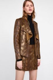 Faux Suede Animal Print Jacket at Zara