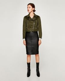 Faux Suede Biker Jacket in Olive Green by Zara at Zara