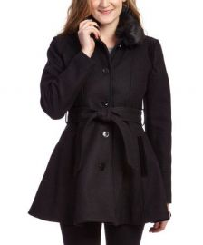 Faux fur collar coat at Zulily