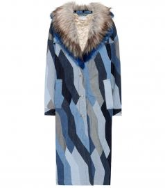 Faux fur-trimmed denim coat at Mytheresa