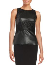 Faux leather and lace tank by Bailey 44 at Lord & Taylor
