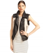 Faux leather motorcycle vest by Bar III at Macys
