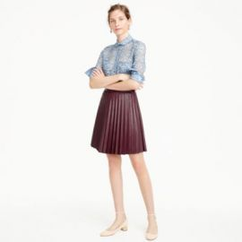 Faux-leather pleated mini skirt at J. Crew