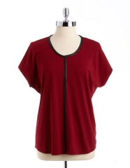 Faux leather trim tee at Lord & Taylor