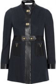 Faux leather-trimmed cotton-poplin coat at The Outnet