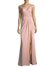 Faviana Off-the-Shoulder Column Faille Satin Evening Gown at Neiman Marcus