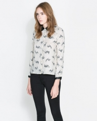 Fawn print blouse at Zara