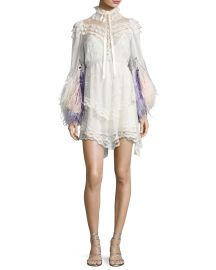 Feather-Embellished Lace Mini Dress  Marc Jacobs at Bergdorf Goodman