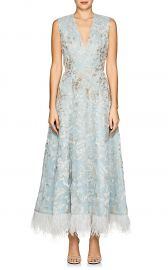 Feather-Trimmed Beaded Silk Cocktail Dress  J Mendel at Barneys