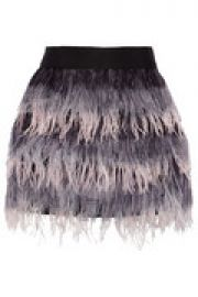Feather and silk mini skirt at The Outnet