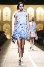 Feather dress at Fendi