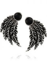 Feather silver onyx earrings at The Outnet
