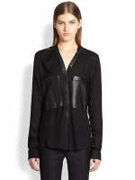 Feathery leather pocket tee by Helmut Lang at Saks Fifth Avenue