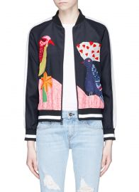 Felisa Bird and Plant Print Silk Bomber Jacket by Alice + Olivia at Lane Crawford