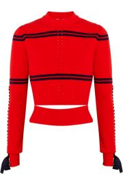 Fendi   Cutout faille-trimmed striped pointelle-knit sweater at Net A Porter