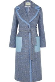 Fendi - Belted canvas and leather-trimmed wool-blend twill coat at Net A Porter