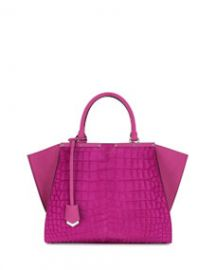 Fendi 3 Jours Petite Croc-Embossed Calf Hair Satchel Bag Magenta at Neiman Marcus