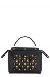 Fendi DOTCOM Studs Calfskin Leather Satchel at Nordstrom
