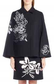 Fendi Floral Embroidered Wool   Silk Cape at Nordstrom
