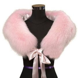 Ferrand Womenand39s Large Real Genuine Fox Fur ShawlWrapStoleScarfCollar Neck Warmer With Ribbon Pink at Amazon