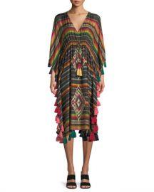 Figue Amirta V-Neck Long-Sleeve Striped Silk Kaftan at Neiman Marcus