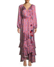 Figue Federica Long-Sleeve Wallpaper Floral-Print Tiered Silk Satin Dress at Neiman Marcus