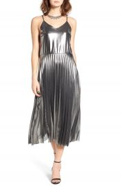 Fire Pleated Foil Midi Dress at Nordstrom